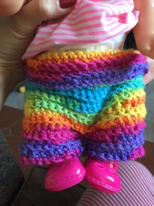 My very first make. An incredibly dodgy pair of culotte 'leggings' for Mary, big girl's doll!!
