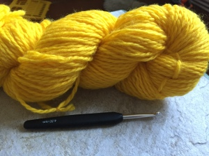 My parents found me some gorgeous turmeric dyed natural wool on the market.